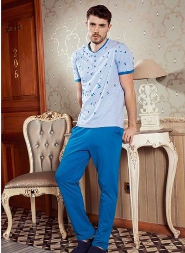 Goldenbay Erkek Pijama Kadife Kuş Baskılı Üst Pantolon 2'li Takım Mavi